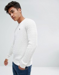 Abercrombie & Fitch Preppy Cable Knit Jumper Moose Logo in Cream - Cream