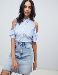 Abercrombie & Fitch ruffle cold shoulder shirt - Blue