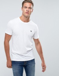 Abercrombie & Fitch Slim Fit T-Shirt Crew Neck Logo in White - White