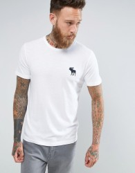 Abercrombie & Fitch Slim Fit T-Shirt Exploded Icon Crew Neck in White - White