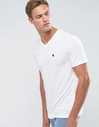 Abercrombie & Fitch Slim Fit T-Shirt V-Neck Logo in White - White