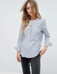 Abercrombie & Fitch Smocked Sleeve Shirt With Cuff Detail - Blue