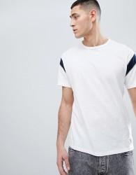 Abercrombie & Fitch Varsity Slub Crew Neck T-Shirt Contrast Sleeve Insert in White/Navy - White