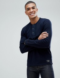 Abercrombie & Fitch Waffle Henley Long Sleeve Top in Navy - Navy
