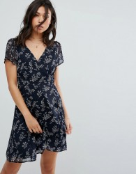 Abercrombie & Fitch Wrap Tea Dress with Slit - Navy