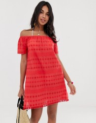 Accesorize broderie beach dress in red - Red