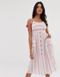 Accesorize Tie shoulder beach dress in red stripe - Multi