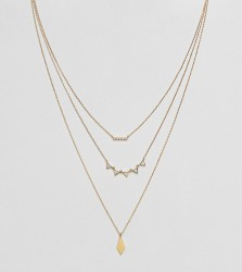 Accessorize geo layered pendant necklace - Gold