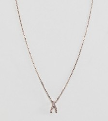 Accessorize necklace with wishbone charm - Gold