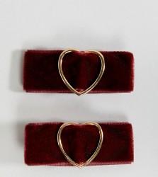 Accessorize velvet heart hair clips - Red