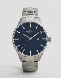 Accurist 7111 Silver Watch with blue dial - Silver