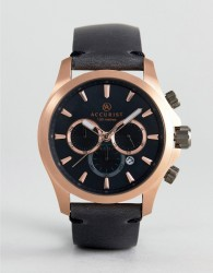 Accurist 7179.01 Chronograph Leather Watch In Navy - Black