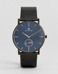 Accurist Black Mesh Watch With Blue Dial - Black