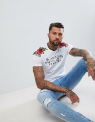 Aces Couture Muscle T-Shirt With Rose Detail - White