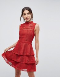 Adelyn Rae Bianca Tiered Dress - Red