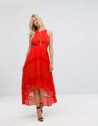 Adelyn Rae Irina Pleated Lace Insert Maxi Dress - Orange