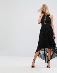 Adelyn Rae Irina Pleeated Lace Insert Maxi Dress - Black
