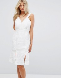 Adelyn Rae Jacelyn Kick Hem Dress - White