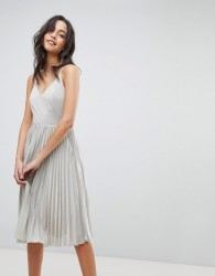 Adelyn Rae Jolene Pleated Dress - Silver