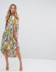 Adelyn Rae Lianna Hi-Low Printed Cold Shoulder Dress - Multi