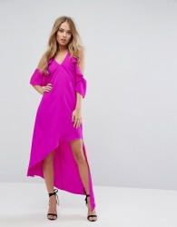 Adelyn Rae Oliana Asymmetric Cold Shoulder Dress - Pink