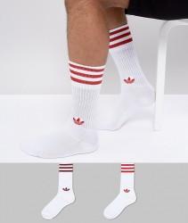 adidas Originals adicolor 2 Pack Crew Socks In Red CE5712 - Navy