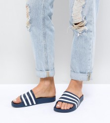 adidas Originals Adilette Slider Sandals In Navy And White - Navy