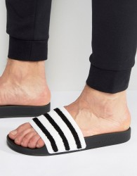 adidas Originals Adilette Slides In Black Toweling BB0125 - Black