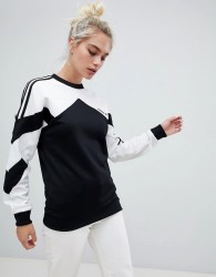 adidas Originals Authentic Sweatshirt With Contrast Panel In White And Black - Multi