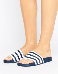 adidas Originals White And Navy Adilette Slider Sandals - Multi