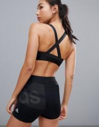 adidas Training Three Stripe Strappy Bra In Black - Black
