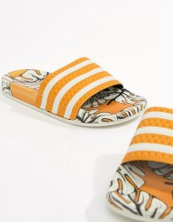 adidas X Farm Adilette Slider Sandals In Tropical Print - Multi