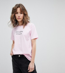 Adolescent Clothing Boyfriend T-Shirt With Too Late Darling Print - Pink