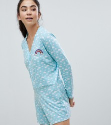 Adolescent Clothing Cloud Print Romper - Blue