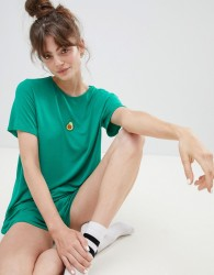 Adolescent Clothing embroidered avocado t-shirt and shorts pyjama set - Green