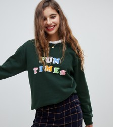 Adolescent Clothing oversized sweatshirt with fun times print - Green