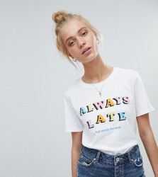 Adolescent Clothing t-shirt with always late print - White