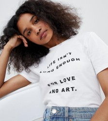 Adolescent Clothing t-shirt with love and art slogan - White