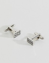 Aetherston square engraved cufflinks in antique silver - Silver