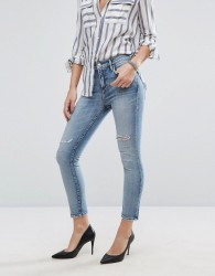 AGOLDE Sophie Crop Jean with Rips - Blue