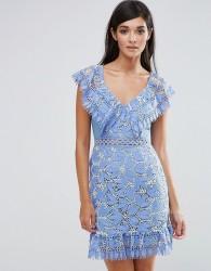 Aijek Lace Mini Dress With Lace Flutter Neckline - Blue