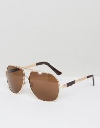 AJ Morgan Attack Aviator Sunglasses In Gold - Gold