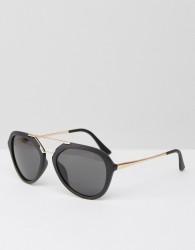 AJ Morgan Aviator Sunglasses in Matt Black and Contrast Gold - Black