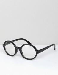 AJ Morgan Carter Round Clear Lens Glasses In Black - Black