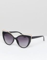 AJ Morgan Cat Eye Sunglasses With Metal Detail - Black