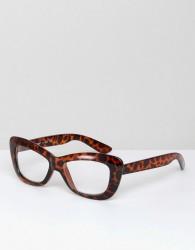 AJ Morgan Crushed Cat Eye Clear Lens Glasses In Tort - Brown