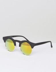 AJ Morgan Potter Round Sunglasses In Matte Black - Black