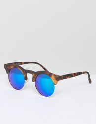 AJ Morgan Potter Round Sunglasses In Matte Tort - Brown