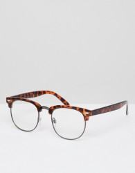 AJ Morgan retro clear lens glasses in tort - Brown