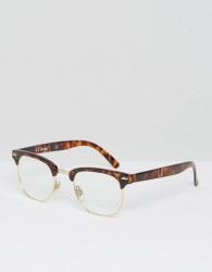 AJ Morgan Retro Glasses With Clear Lens - Brown